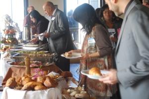 working the buffet breakfast line